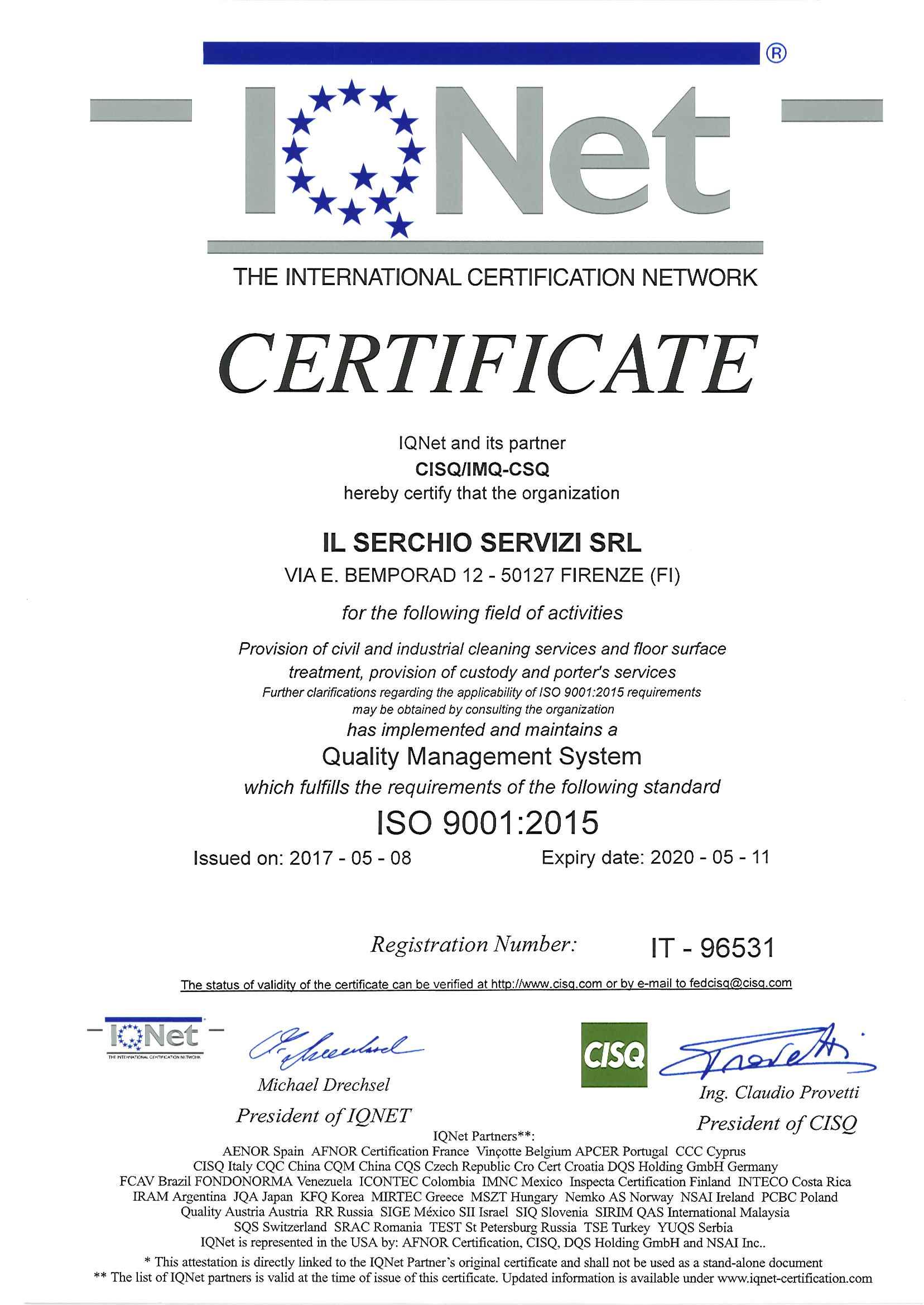 Certificazioni ISO 9001:2015